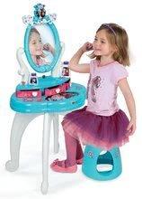 Detský kozmetický stolík Disney Frozen Smoby 2v1 so stoličkou, trblietkami a 10 doplnkami akvamarínový